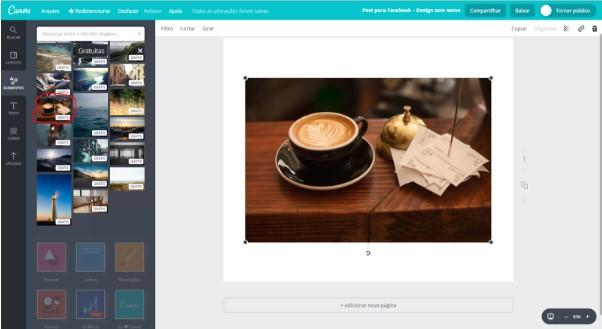 """Você notará que no canto da imagem tem a palavra """"gratuito"""", é só clicar, e a mesma é transferida para a parte branca da tela, pronta para ser editada."""