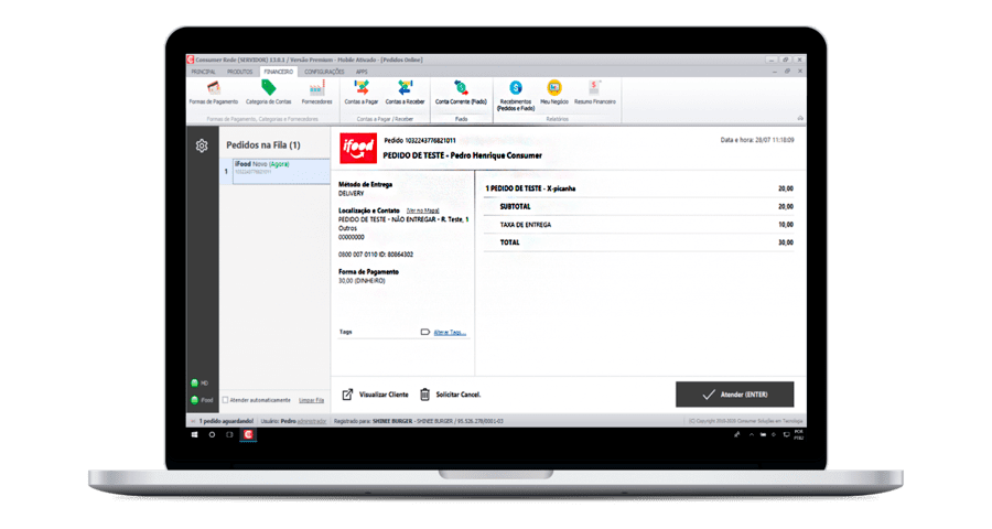 Notebook com o sistema Consumer aberto na tela da Integração iFood.