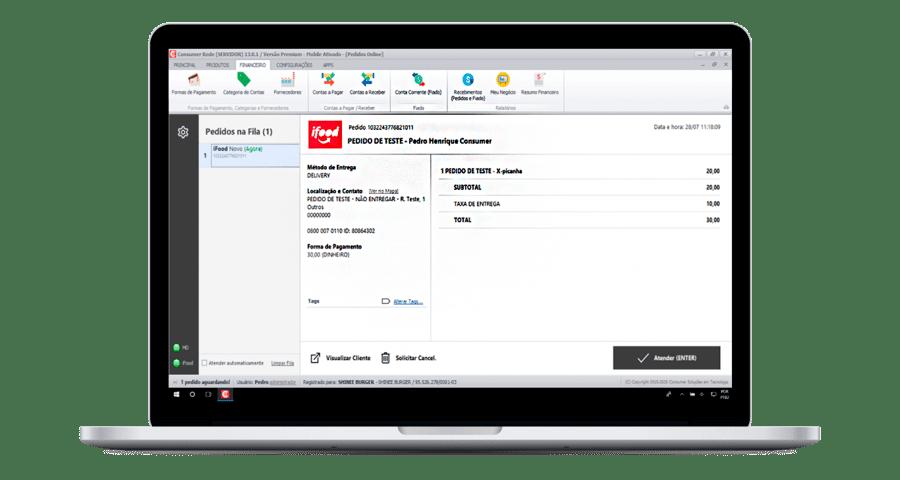 Notebook exibindo a tela de integração iFood e Consumer.