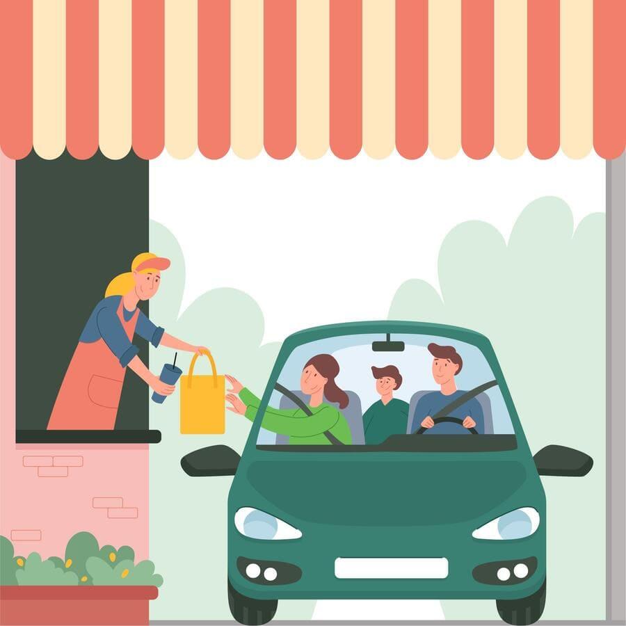 Uma família no carro passando para retirar o pedido no restaurante.