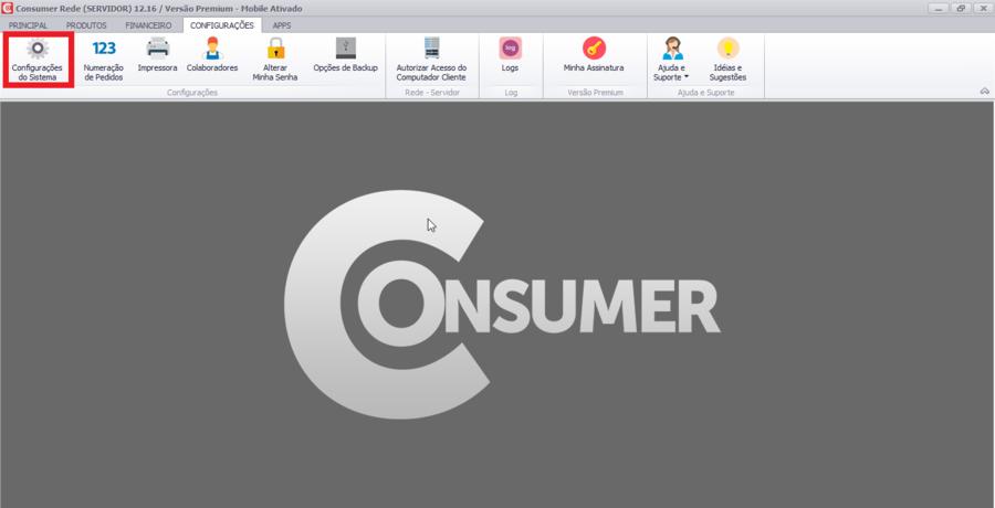 Tela inicial do sistema Consumer.